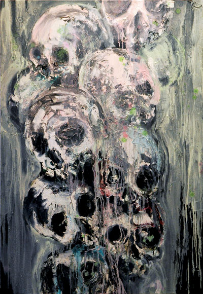Andrew Guenther Skull Pile 2006 oil on canvas 68 x 48