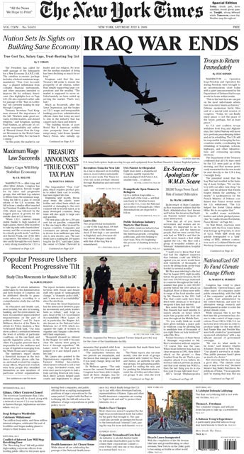 the new york times front page. real New York Times front page