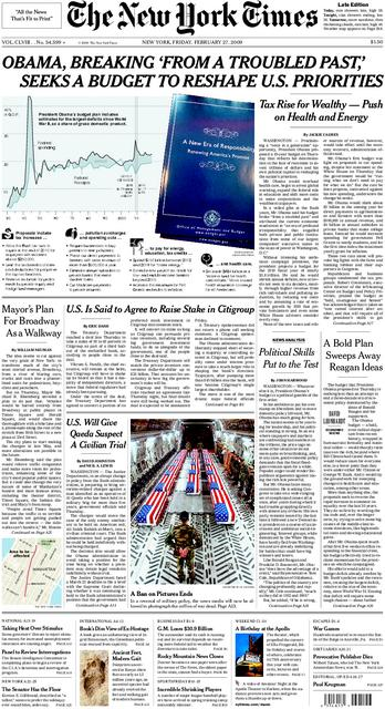 the new york times front page. The front page of this